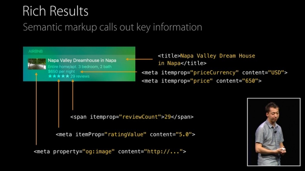 Slide from WWDC session on Search. Showing OpenGraph and schema..org metadata pulling into iOS 9 Search results.