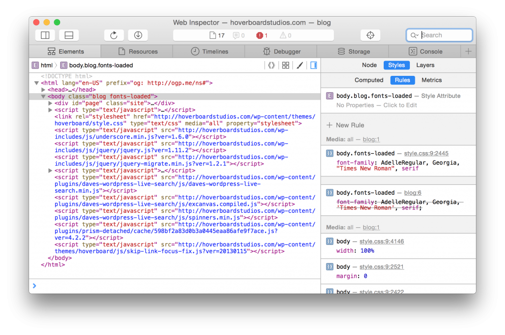 Screenshot of DOM Tree in Safari 9  Inspector