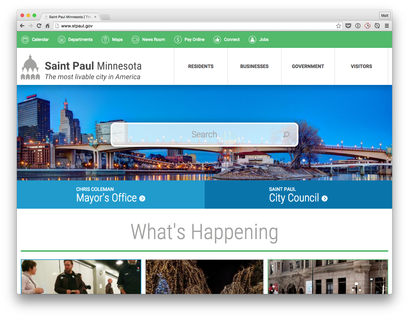 The new redesigned website for the City of Saint Paul
