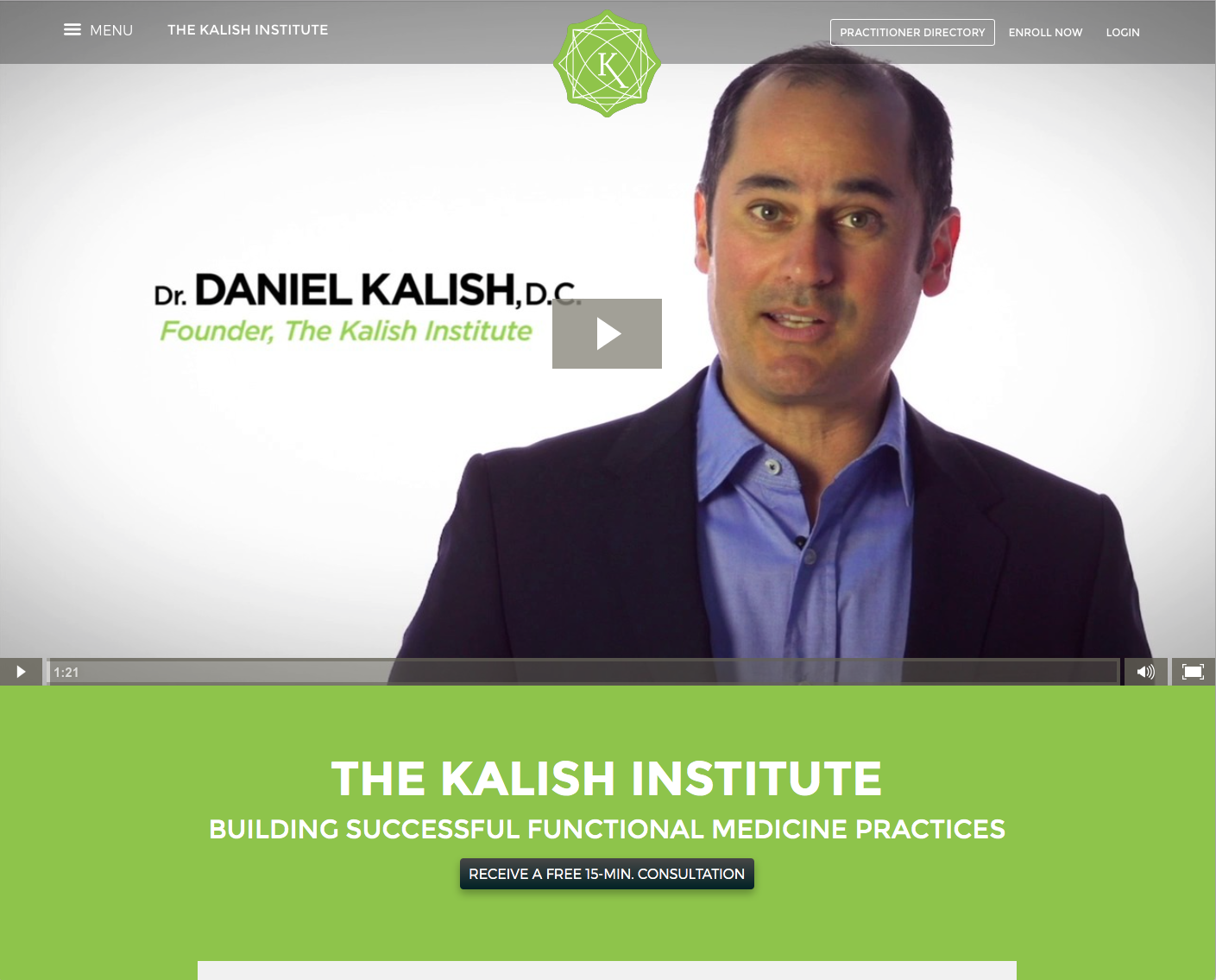 Screenshot of Kalish Website (Home)