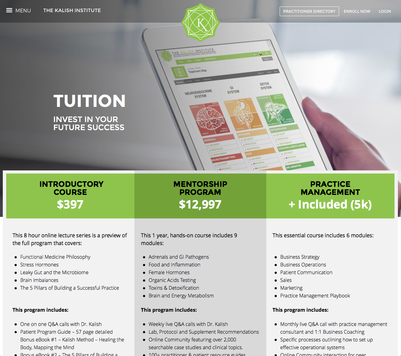 Screenshot of Kalish Website (Internal)