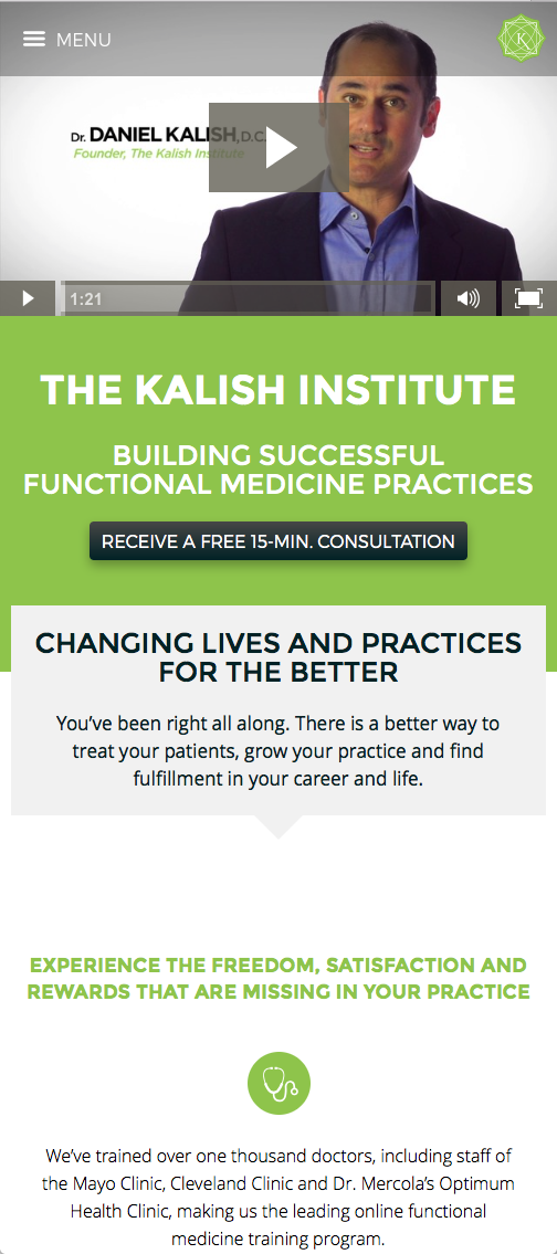 Screenshot of Kalish Website (Mobile)