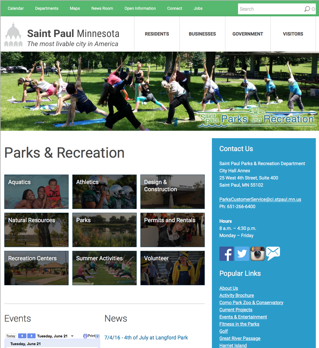 City of Saint Paul Website Internal Screenshot