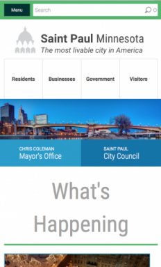 City of Saint Paul Website Mobile Screenshot