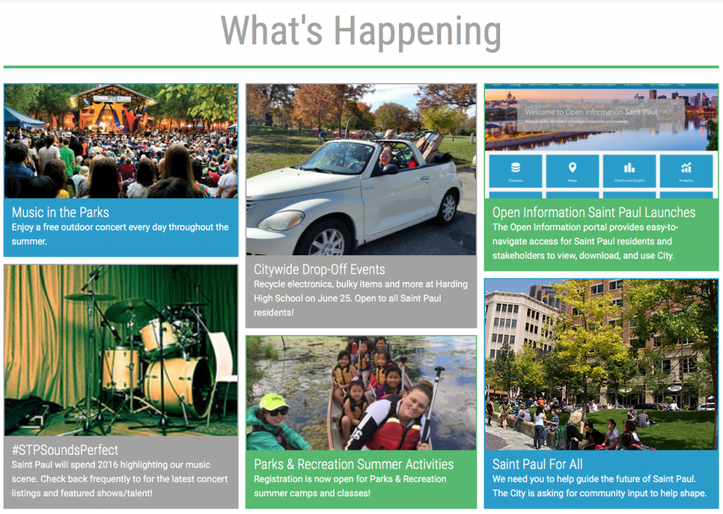 Screenshot of What's Happening Section on stpaul.gov