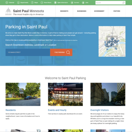 Screenshot of Parking page on StPaul.gov