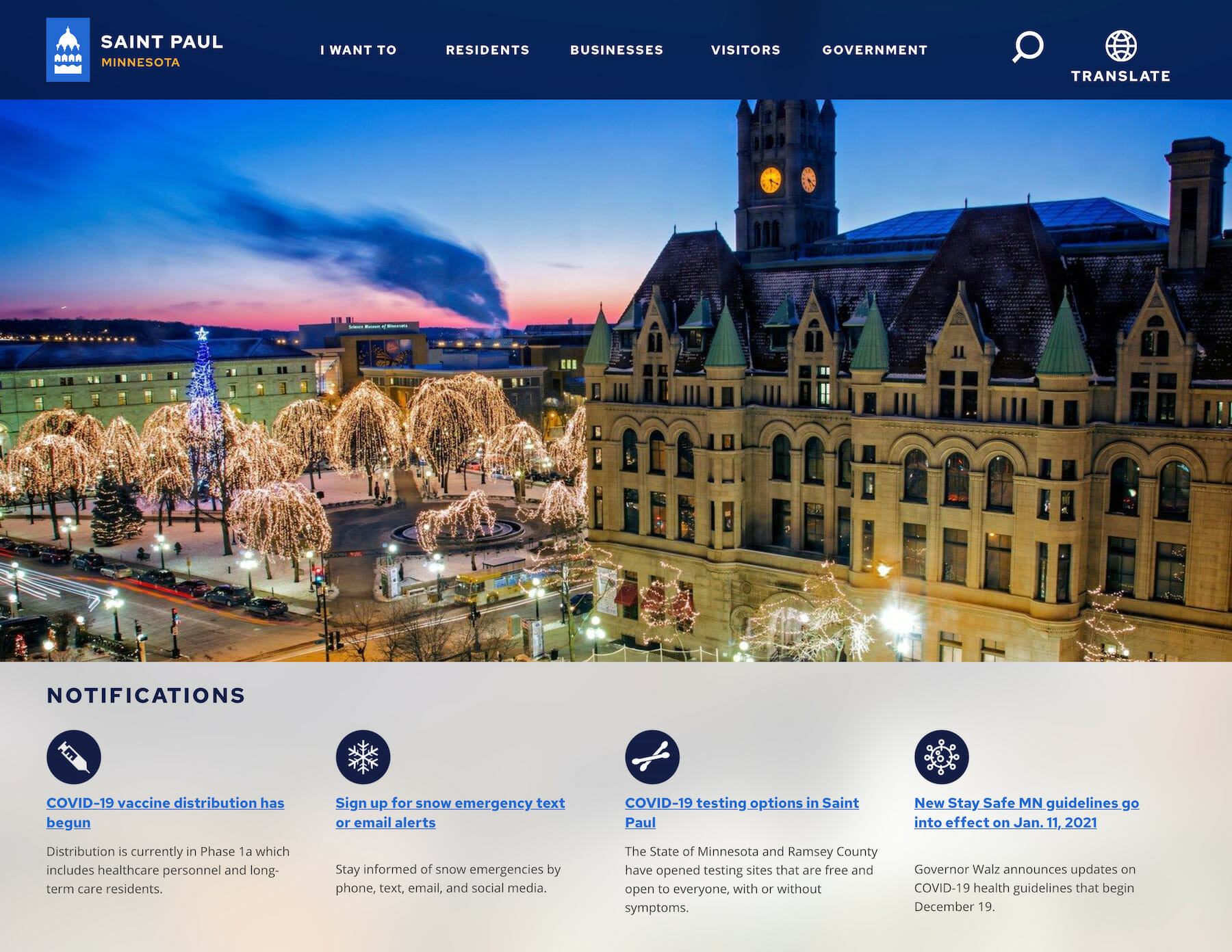 Desktop screenshot of stpaul.gov